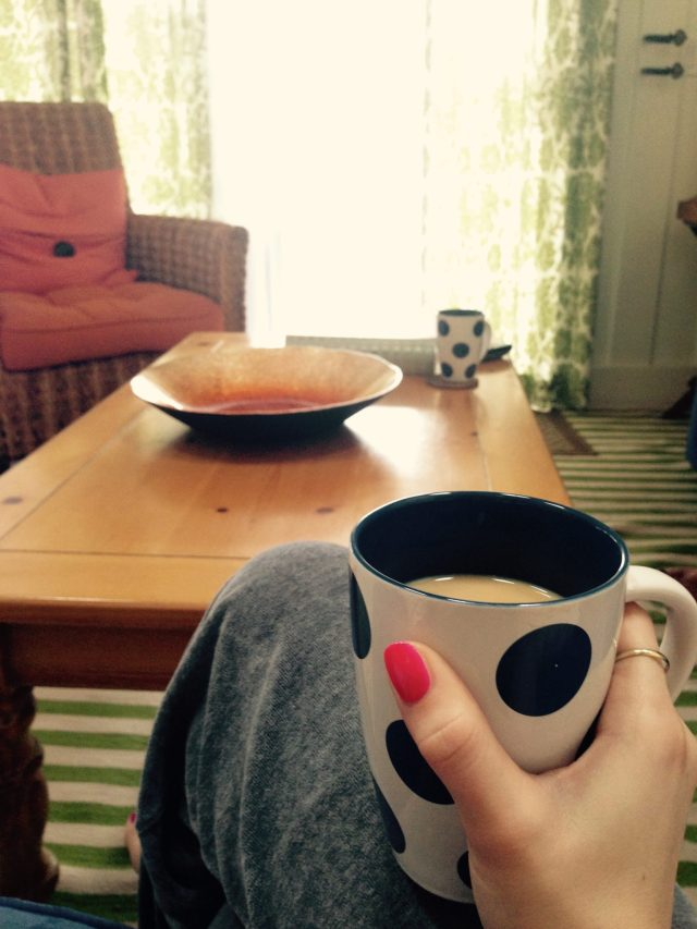 Morning coffee in our cute little bungalow
