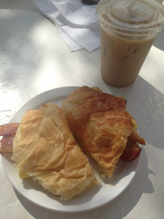 BEC on a croissant + the best iced coffee I may have ever had!
