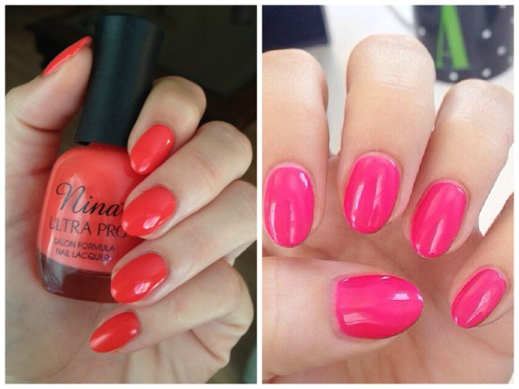 Left: acyrgel topped with regular polish. Right: acrygel topped with gel polish