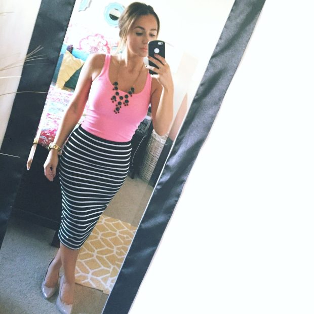 Top: Target, Skirt: Bob's, Shoes: Payless, Necklace: Forever 21