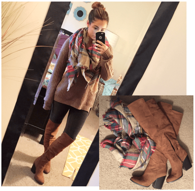 Sweater: Charlotte Russe // Green Corduroy Leggings: Boscovs // Scarf: KnitPopShop // Boots: Forever 21