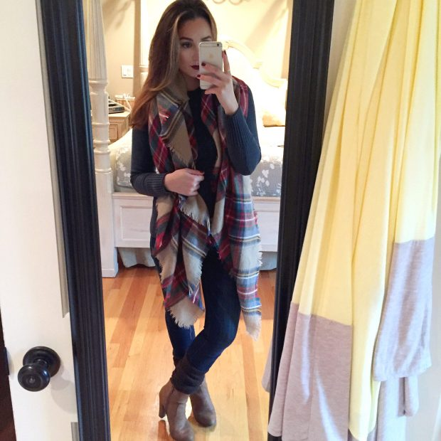 Sweater: Target // Jeans: Abercrombie // Blanket Scarf: KnitPopShop // Leg Warmers: NoNonsense // Booties: Prima Donna