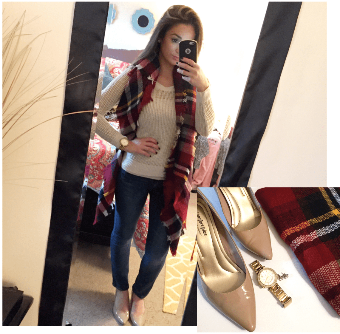 Shirt: Old Navy // Jeans: American Eagle // Scarf: KnitPopShop // Heels: Comfort Plus [Payless] // Watch: Michael Kors // Studs: Ross Simons