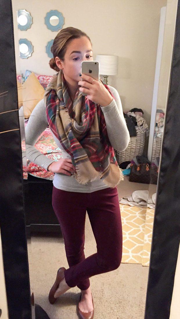 Shirt: Target // Pants: Cynthia Rowley [Marshalls] // Blanket Scarf: KnitPopShop // Flats: Payless
