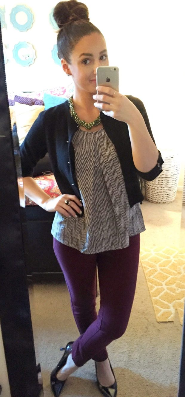 Top: Kohls // Sweater: Lord + Taylor // Pants: Cynthia Rowley // Heels: Comfort Plus [Payless] // Necklace: Consignment // Ring: Lia Sohpia // Studs: Ross Simons