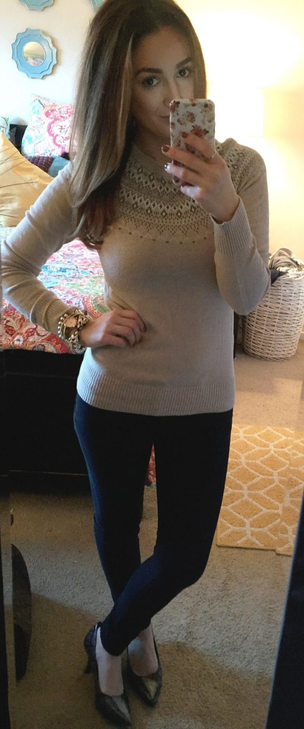 Sweater: Target // Black Skinnies: UKLA // Heels: Comfort Plus [Payless] //