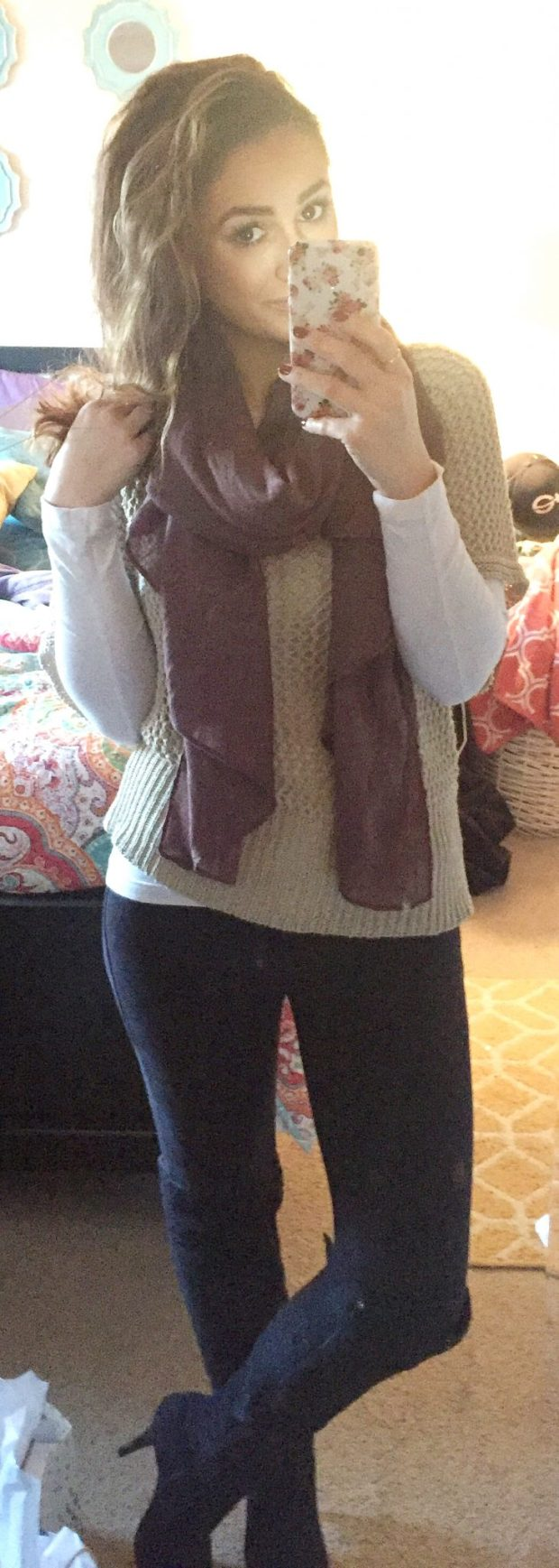 White Long Sleeve: Target // Sweater: Stollen from my sister ;) // Pants: XXX // Boots: Forever 21 // Scarf: Charlotte Russe