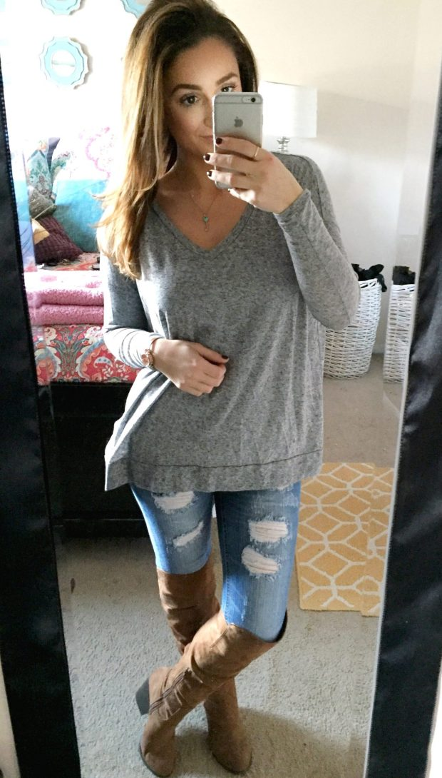 Top: Forever 21 // Jeans: Marshalls // Boots: Forever 21 // Necklace: Tiffanys // Watch: Macys