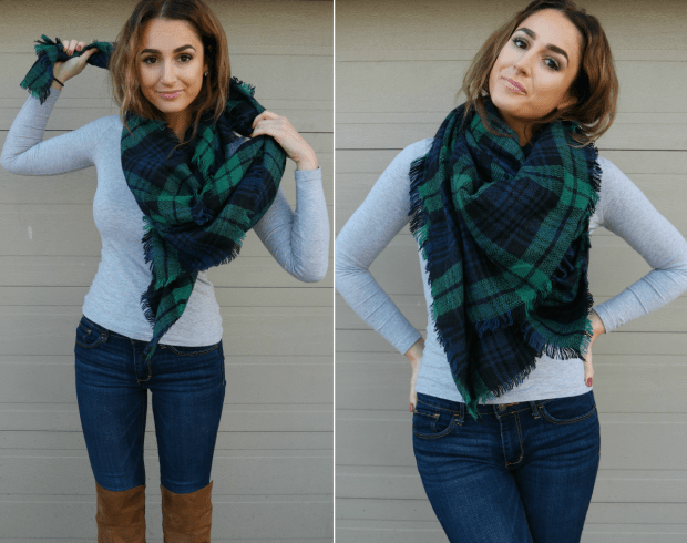 how to wear a blanket scarf around your neck