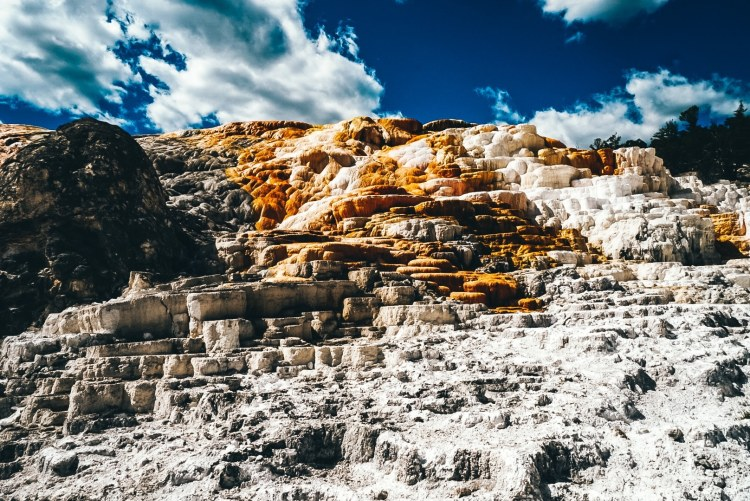 View from the base of Mammoth Hot Springs