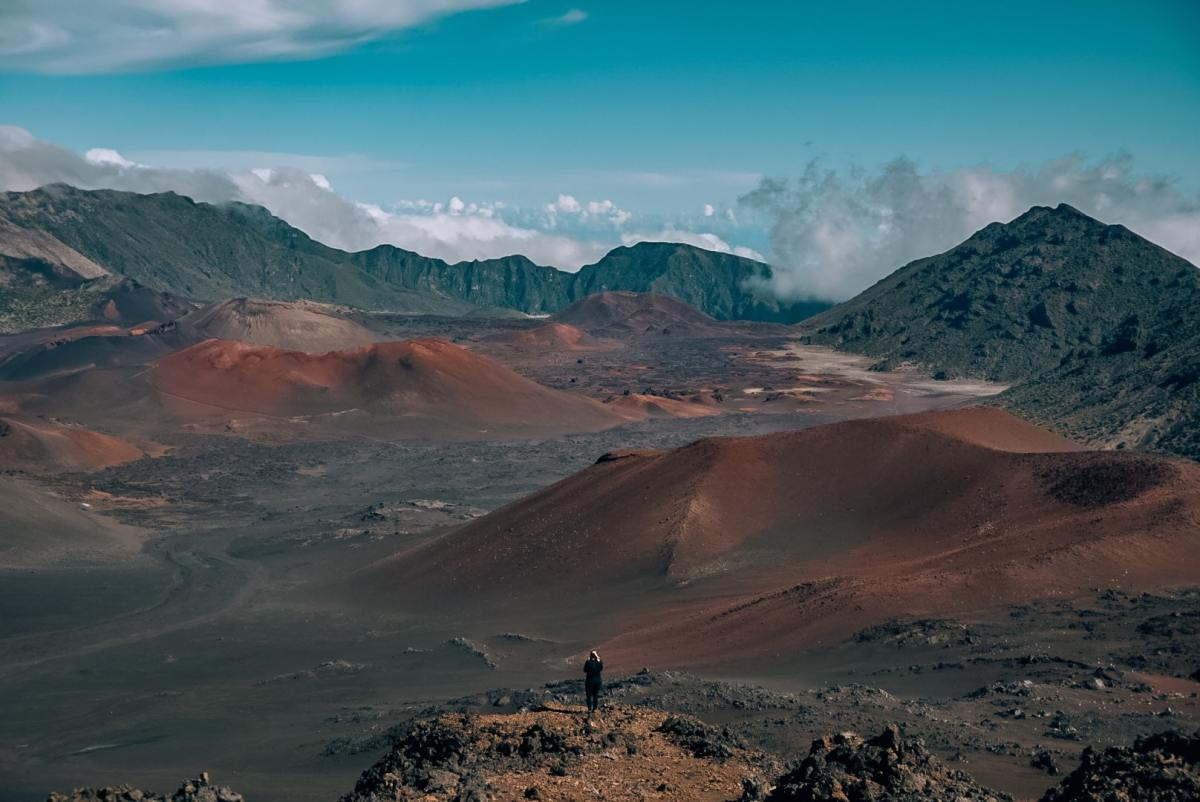 Woman standing above the crater in Haleakala National Park