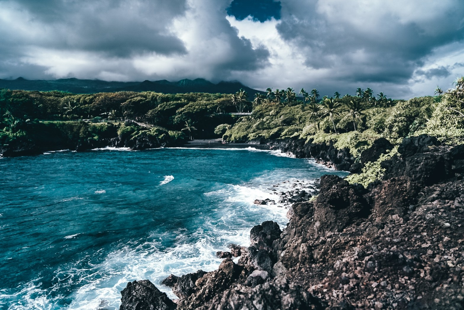 View of the black sand beach at Waianapanapa State Park