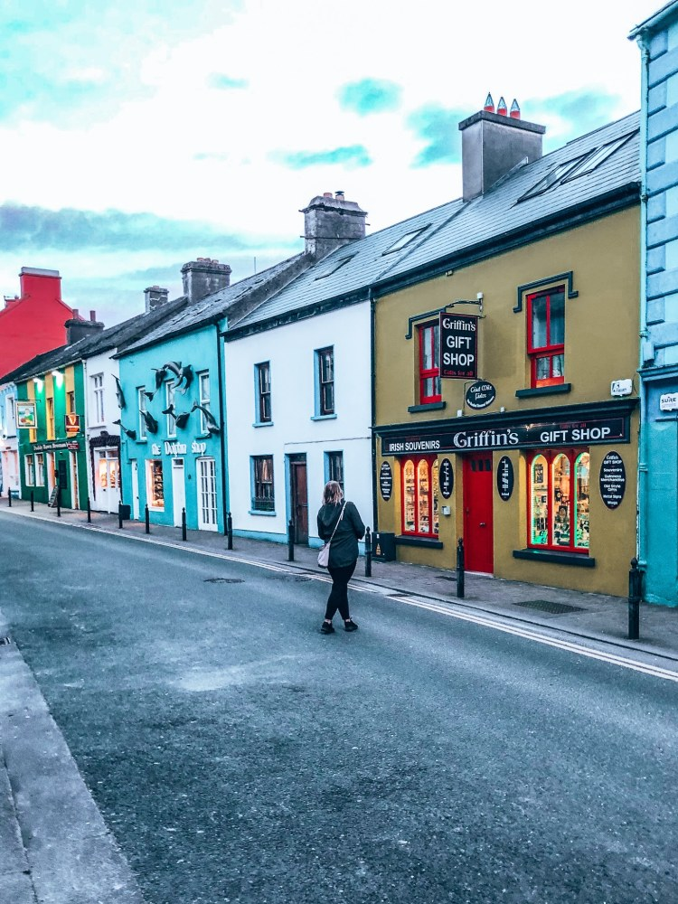 Dingle street with lots of colorful buildings
