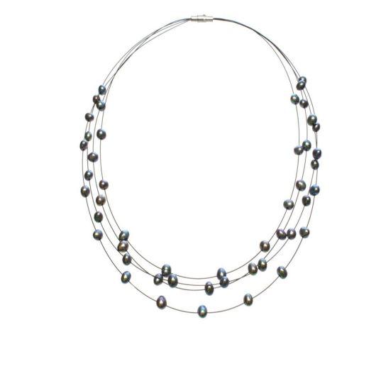 Amanda Blu Illusion Pearl Necklace on Black Wire - Peacock Black