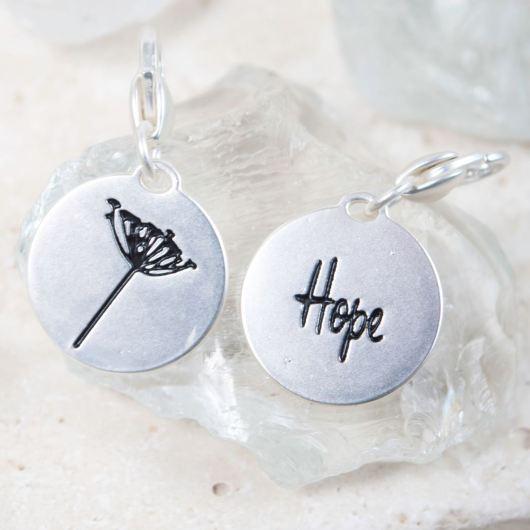 "Silver 2-Tone Medallion - Dandelion ""Always Believe"""