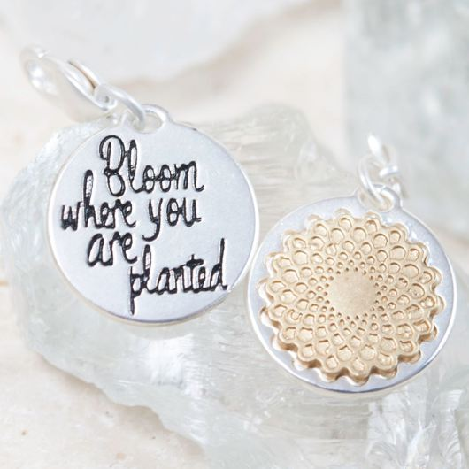 """Silver 2-Tone Medallion - Mum """"Believe in Yourself"""""""
