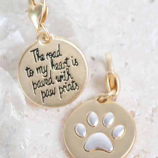 "Gold 2-Tone Medallion - Paw Print ""Pet"""