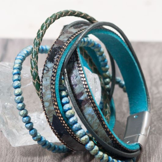Leather Wrap Bracelet - Peacock