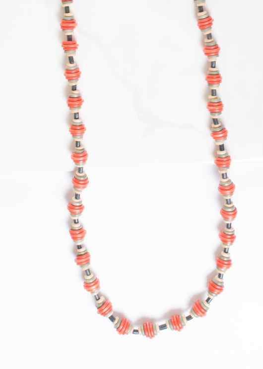 Gradutated Wood Disc Pull-Cord Necklace - Emberglow