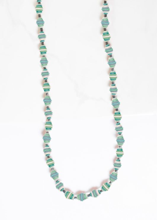 Gradutated Wood Disc Pull-Cord Necklace - Sterling