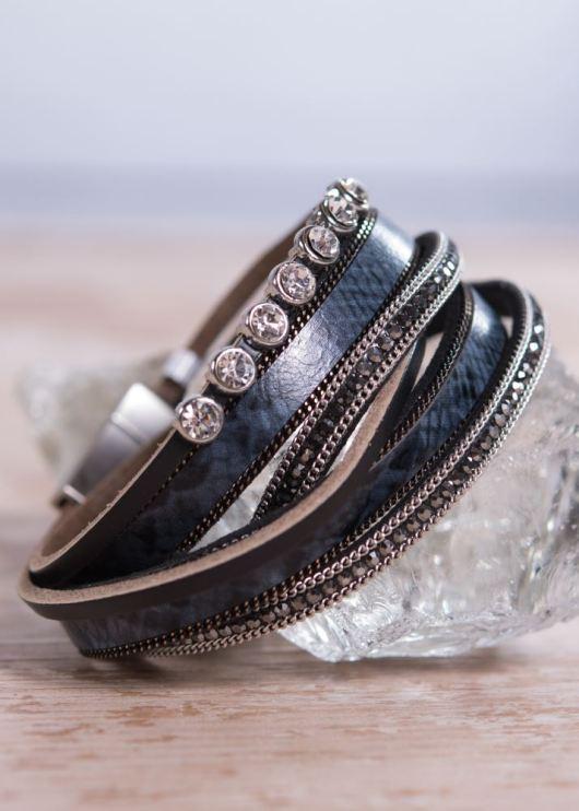 Leather Wrap Bracelet - Dark Blue Crystal