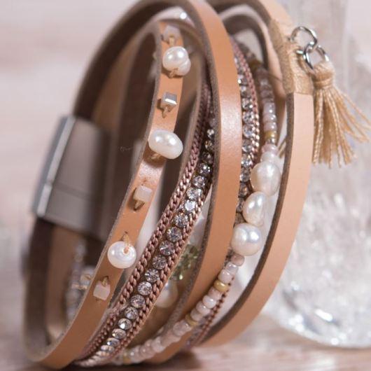 Leather Wrap Bracelet - Beige Tassel