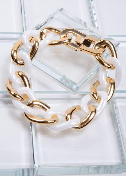 Ceramiqué White/Gold Duet Bracelet