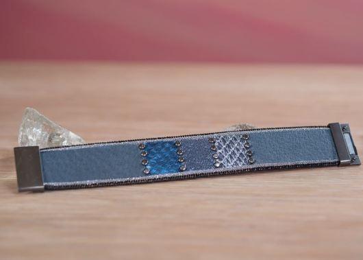 Leather Studded Cuff Bracelet - Blue