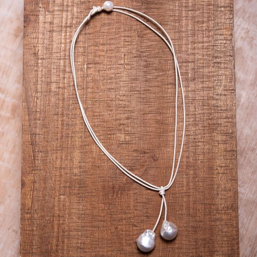 Baroque Pearl Drop Leather Necklace - Ivory