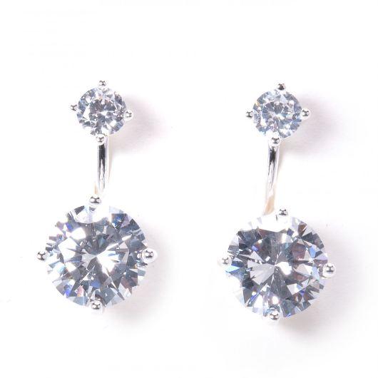 Stud Earrings with Stud Drop Jacket - Silver