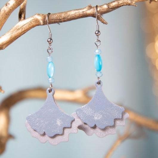Ginko Leaf Leather Earrings - Overcast