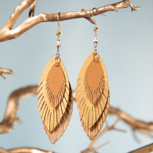 Three Leaf Leather Earrings - Goldenrod