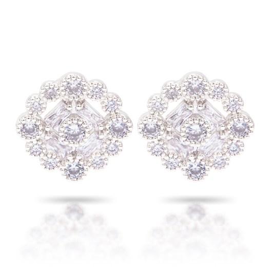 Bezel Halo Stud Earrings - Silver