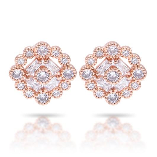 Bezel Halo Stud Earrings - Rosegold