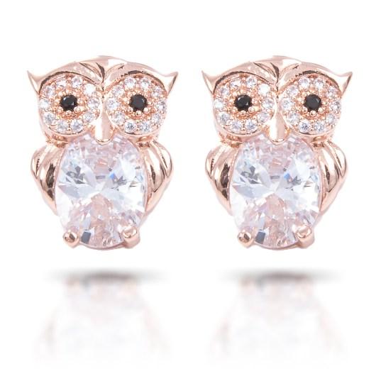 Owl Stud Earrings - Rosegold