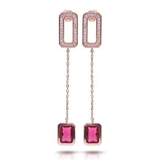 Baguette Drop Long Earrings - Rosegold Pink