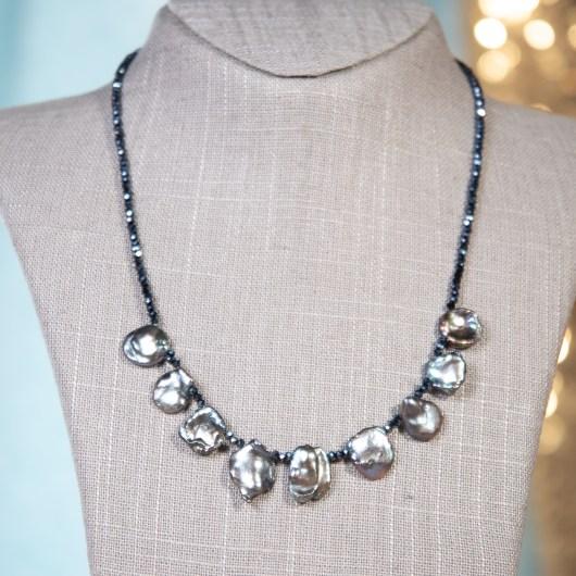 Irregular Pearl Shimmer Necklace - Natural Peacock