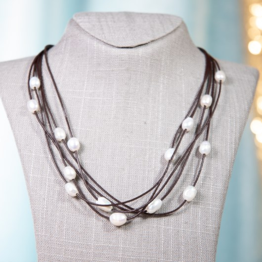 Leather & Pearl Floating Necklace - Brown