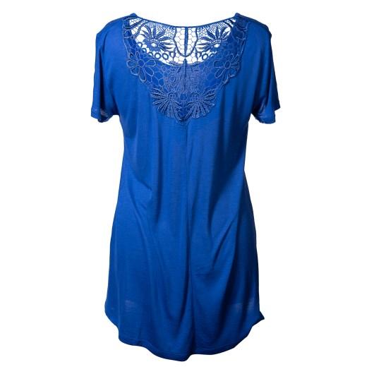 Lace Back Short Sleeve Tee Size 2XLarge - Blue