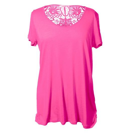 Lace Back Short Sleeve Tee Size 2XLarge - Pink