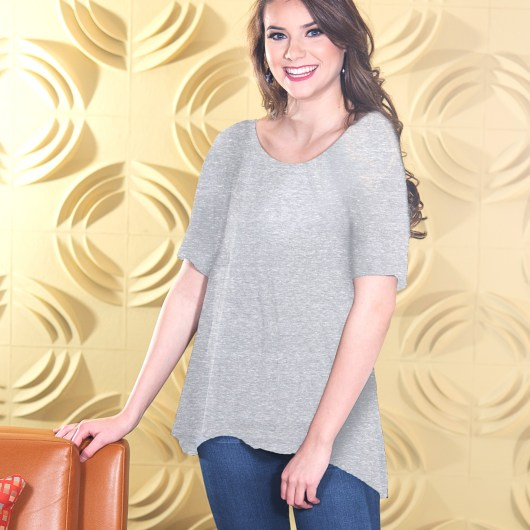 Fit & Flare Top - Heather Gray