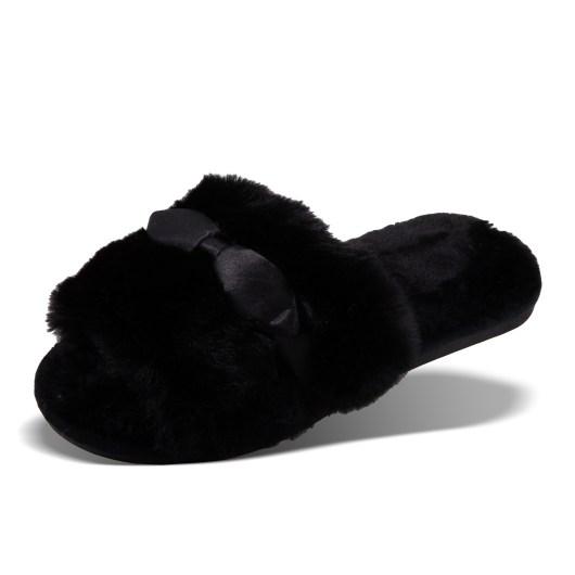 SATIN BOW SLIPPERS - SIZE LARGE (10/11) - BLACK