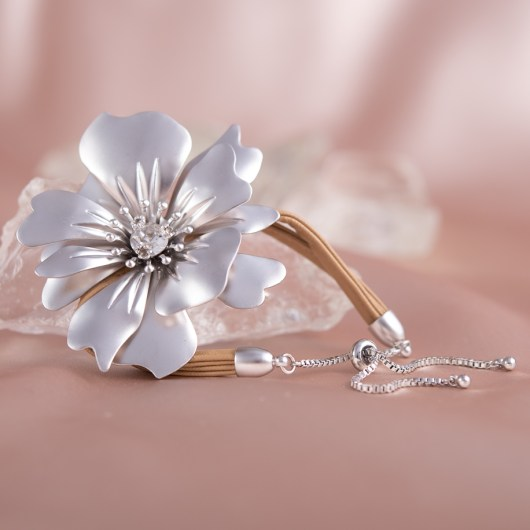 Statement Flower Pull-Cord Bracelet - Silver