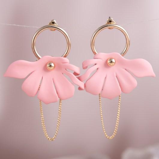 Half Flower Chain Earrings - Blush