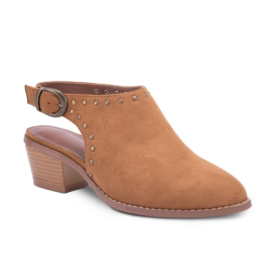 Amanda Blu Walnut Studded Ankle Strap Shootie - Camel - Size 11