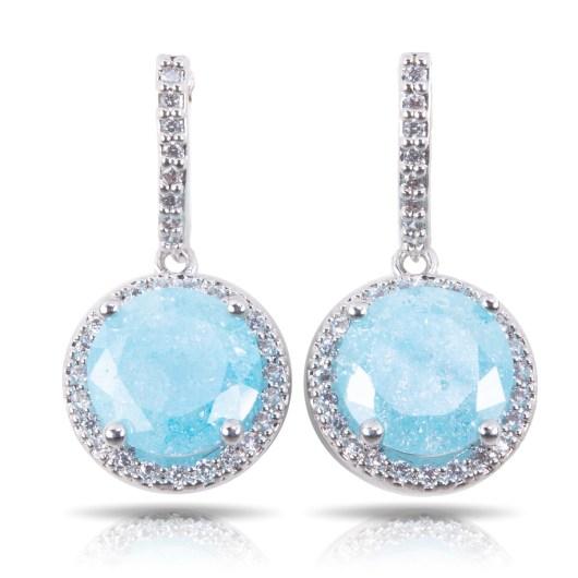 Cracked Zircon Drop Earrings - Aqua - Silver