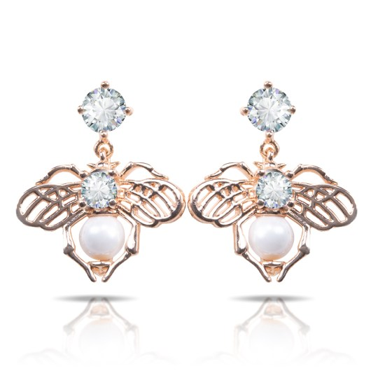 Bee With Pearl Drop Earrings - Gold