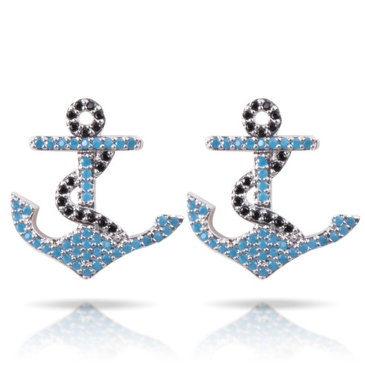 Anchor Earrings - Silver