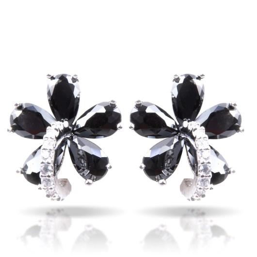 Black Flower Post Earrings - Silver