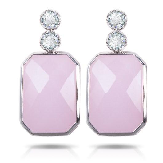 Blush Colored Emerald Cut Crystal Drop Earrings - Silver